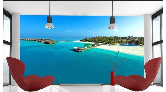3D Wallpaper Custom Now Woven 2015 New The Maldives Aerial Beach Scenery Paintings Mural