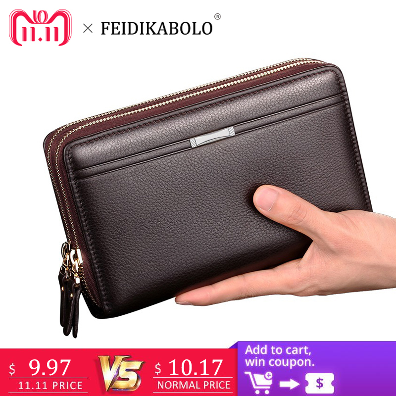 FEIDIKABOLO Double Zipper Men Clutch Bags PU Men's Leather Wallet Men Handy Bag Male Long Wallets Man Purses Carteira Masculina стоимость