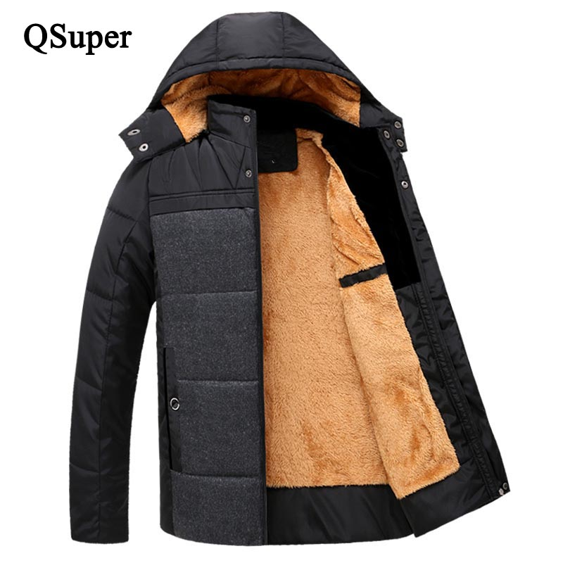 Подробнее о QSuper Wool Fur Winter Thick Warm Men Parkas Down Jackets Coats Hooded Fur Overcoats Cotton Padded Casual Outwear Brand Jackets winter jacket men coats thick warm casual fur collar winter windproof hooded outwear men outwear parkas brand new