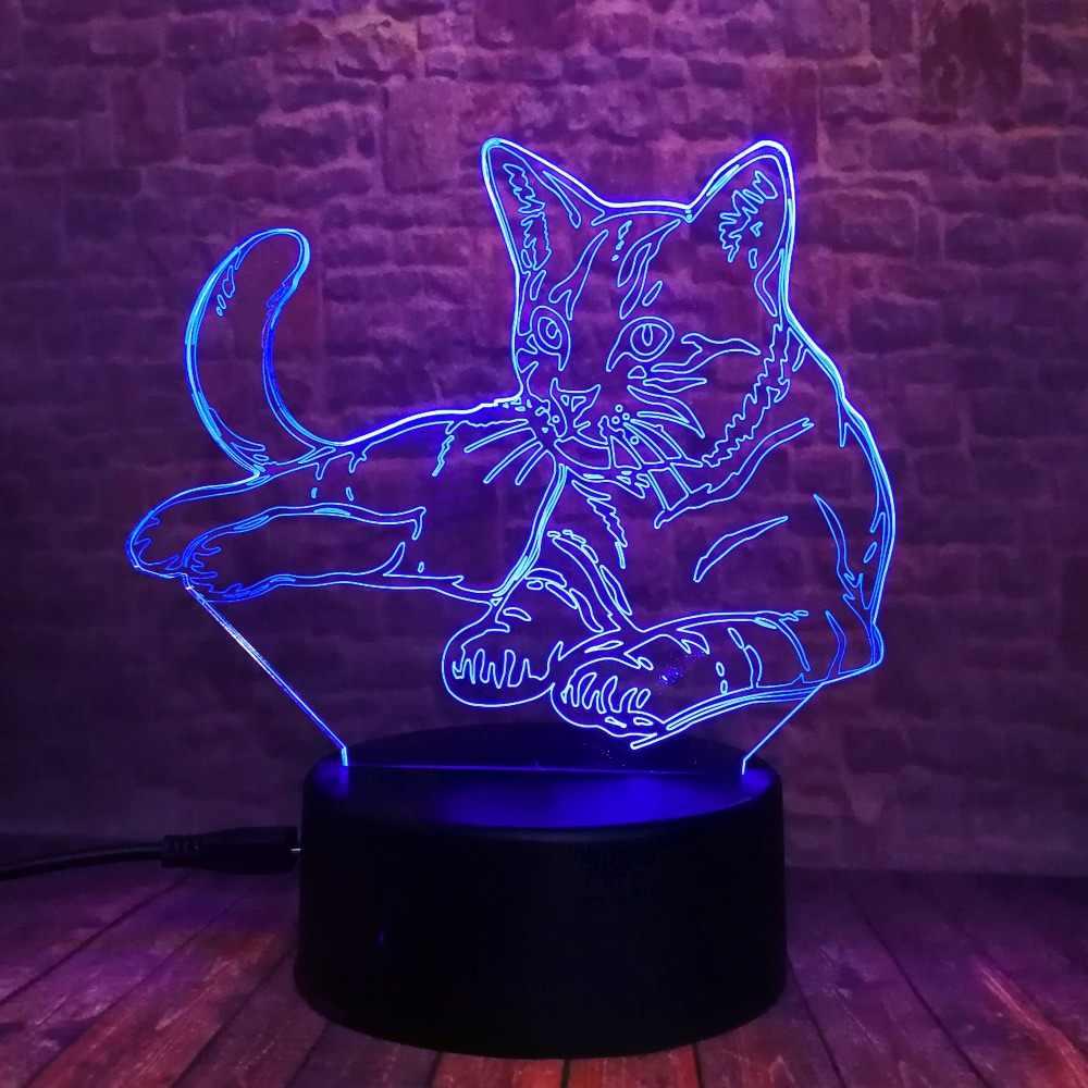 Bonito 3d cosy deitado para baixo lazer gato luz da noite led usb toque 7 luz colorida crianças quarto lâmpada do bebê crianças presentes festa de natal