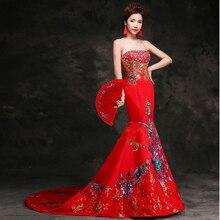 Oriental Evening Dress Women Trail Cheongsam Dress Long Qipao China Bride Wedding Red Robe Chinoise  Traditional Chinese Gown XY