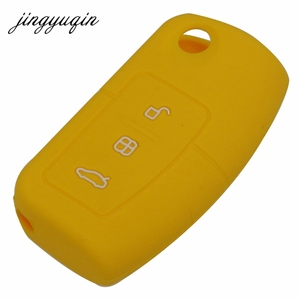 Image 5 - jingyuqin Silicone Cover for Ford Fiesta Focus 2 Ecosport Kuga Escape Car Flip folding Remote key Case 3 Buttons