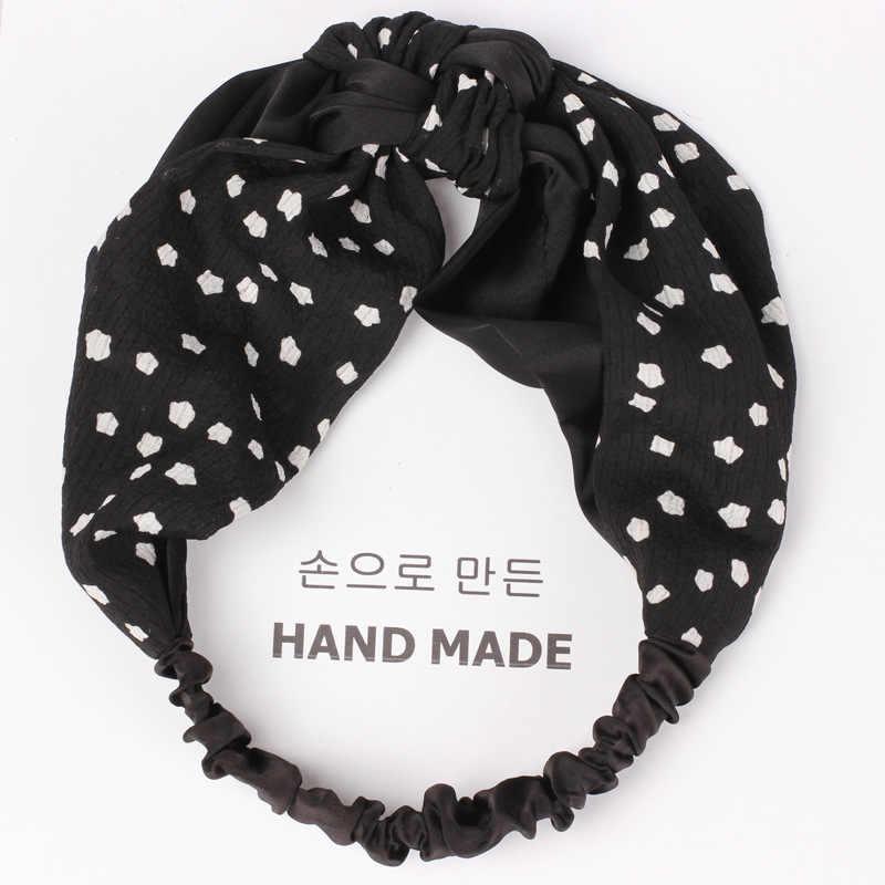 Новая корейская мода осень узел Тюрбан повязка Для женщин девочек волосы руководитель группы Обёрточная бумага аксессуары для Для женщин резинки для волос головы Обёрточная бумага лентой