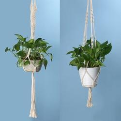 Vintage atada planta cabide cesta verde flowerpot macrame levantamento corda planta gancho pote titular jardim pendurado flor exibição