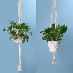 Vintage noué plante cintre panier vert Pot de fleurs macramé levage corde plante cintre Pot titulaire jardin suspendus fleur affichage