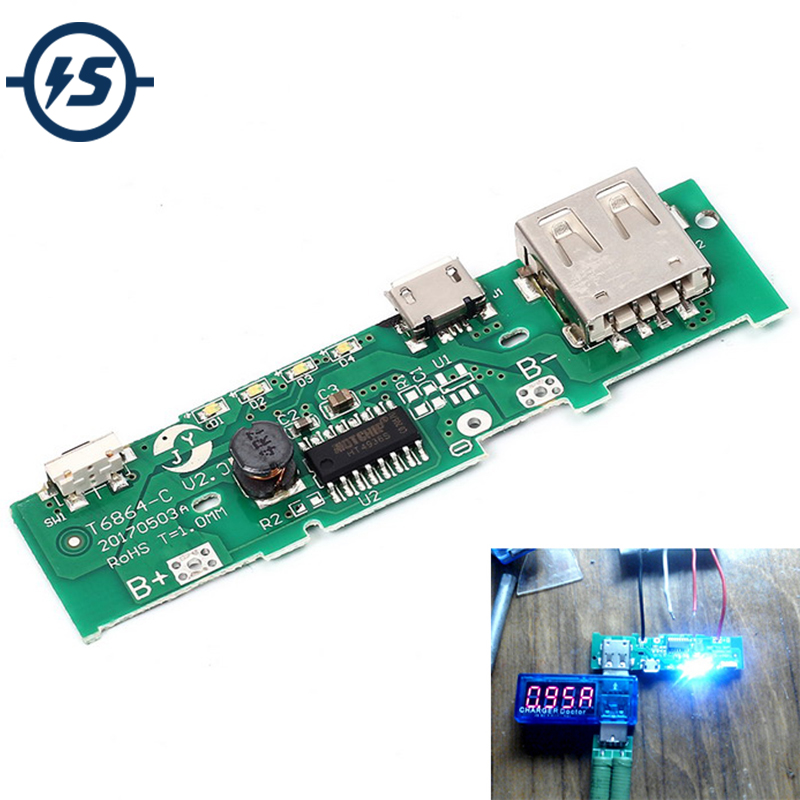 5V 1A <font><b>Power</b></font> <font><b>Bank</b></font> <font><b>18650</b></font> Charger <font><b>Board</b></font> Module Charging Circuit PCB <font><b>Board</b></font> <font><b>Power</b></font> Supply Step Up Boost Mobile Phone For Battery DIY image