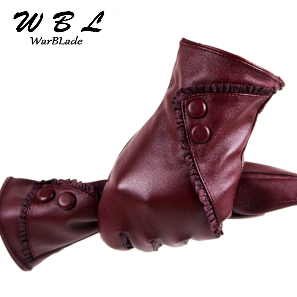 WarBLade Touch Screen PU Leather Gloves Women Winter Mittens Warm Gloves For Woman Guantes Mujer European Style Gants Femme