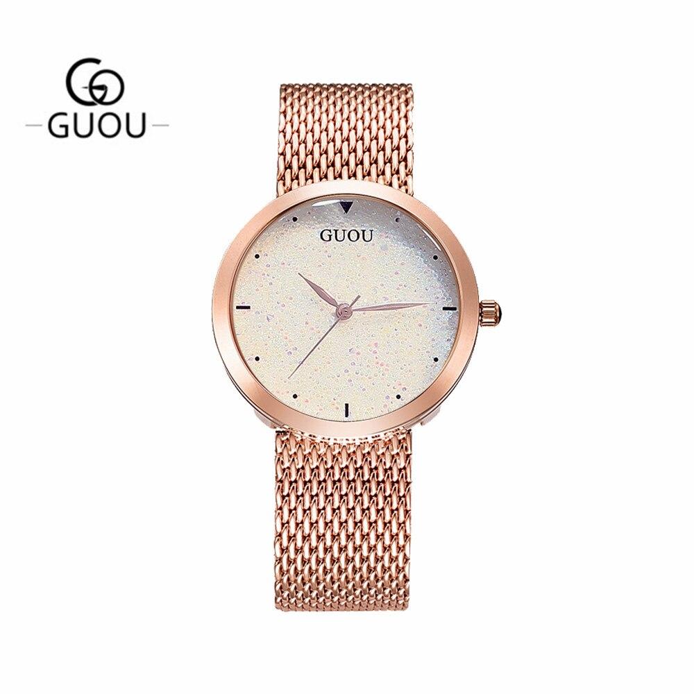GUANQIN GS19051 Top Nova Marca de Relógios Das Senhoras Das Mulheres relógio de Pulso À Prova D' Água com Céu Preto Dial e Pulseira de Couro - 3