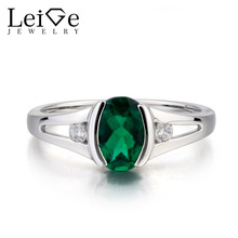 Leige Jewelry Lab Emerald Ring Anniversary Ring Oval Cut Green Gemstone May Birthstone 925 Sterling Silver Ring Gifts for Women