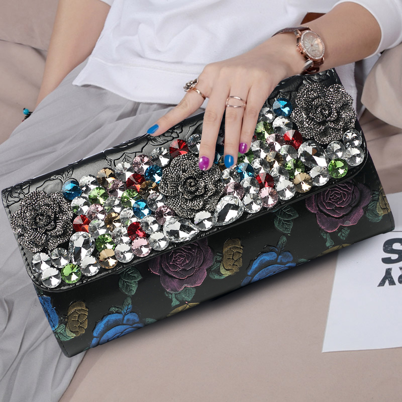 Womens Banquet Diamond Day Clutch Bag Ladies Purse Shoulder Bag Handbag Famous Brand Genuine Leather Flowers Vintage Long Wallet