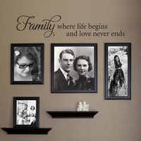 Where Life Begins And Love Never Ends Decal Family Quotes Wall Sticker Art Home Decor Gallery Living Room Text Mural 3224