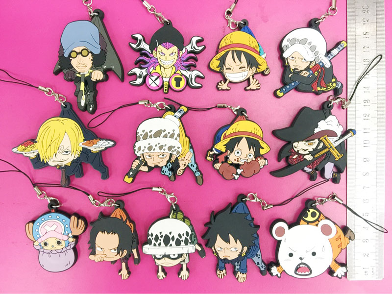 One Piece Anime Double Earphone Jack 2 Gashapon Figure set of 5 Luffy Law Bepo
