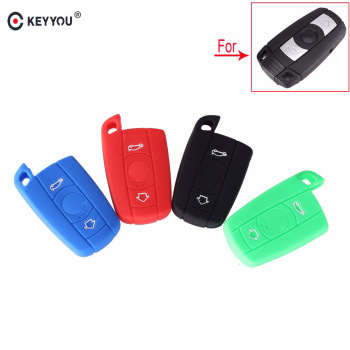 KEYYOU Silicone Key Cover Case For BMW 1 3 5 6 X Series Smart Fob Holder 3 Button E90 E91 E92 E60 Key Cove image