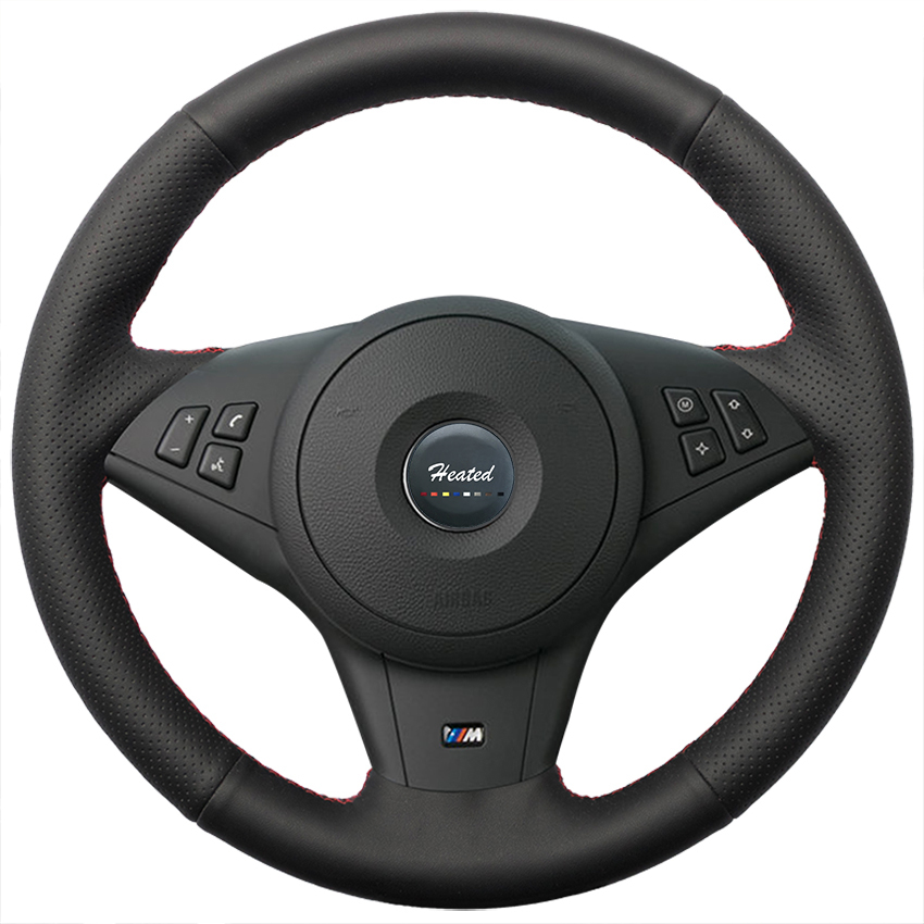 Without bump Braid on Steering Wheel Cover for BMW E60 530i E63 E64 635D car styling Tampa do volante do carro without bump