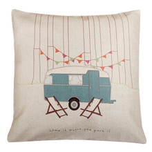 Decorative Throw Pillow Case Vintage Cushion Cover Home Is Where You Park It