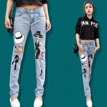 Мода уличная отпечатано punk джинсы, свободные шаровары плюс размер хип-хоп штаны