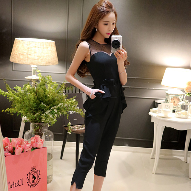 Original 2016 New Designer Brand Combinaison Femme Plus Size Slim Fashion Casual Black Ceremony Jumpsuits Women Wholesale