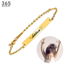 Дизайн нержавеющая сталь Пользовательское Имя ID бар браслет для мальчиков и девочек золотой цвет Шарм Детские Браслеты Лучшие друзья подарок