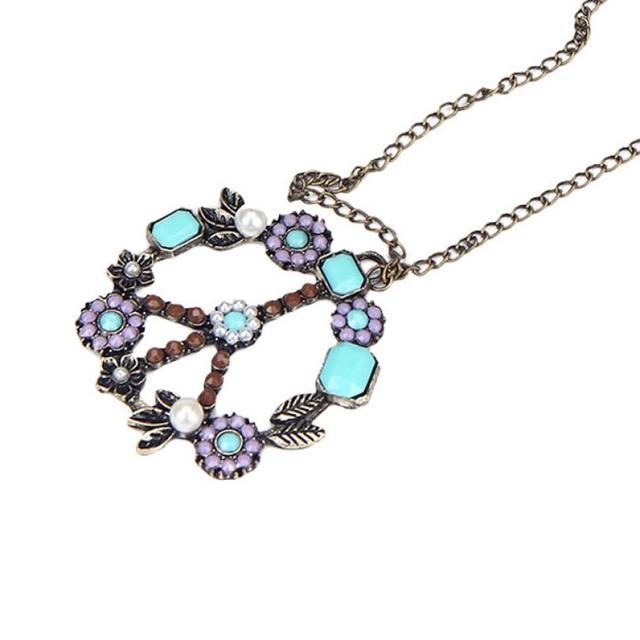 Women Bohemian Pendants 1PC Fashion Women Retro Pearl Peace Symbol Necklace Sweater Chain Light Purple Artistic
