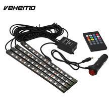 Vehemo 4Pcs LED String LED Strip Car Interior Lights Strips Durable Super Bright Floor Decor