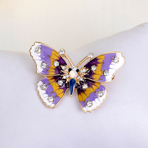 Multicolor Butterfly Bridal Shiny Rhinestones Scarf Brooch Pin Party Jewelry