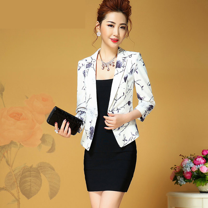 2017 New Jacquard Printing Women Blazers And Jackets Plus Size Casual Slim Spring Autumn Three Quarter Sleeved Slim Suit Coat