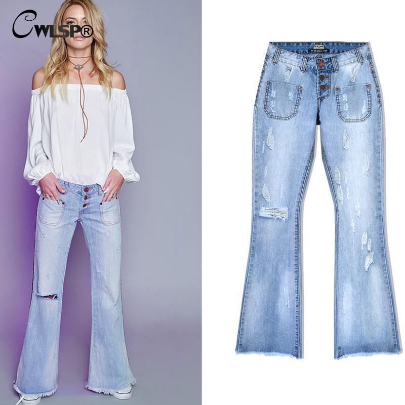 cwlsp jeans woman loose wide leg flare pants tassel low. Black Bedroom Furniture Sets. Home Design Ideas