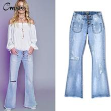 CWLSP Jeans Woman Loose Wide Leg Flare Pants Tassel Low Waist Boyfriend Ripped jeans for women Vintage Denim Pants femme QL2699