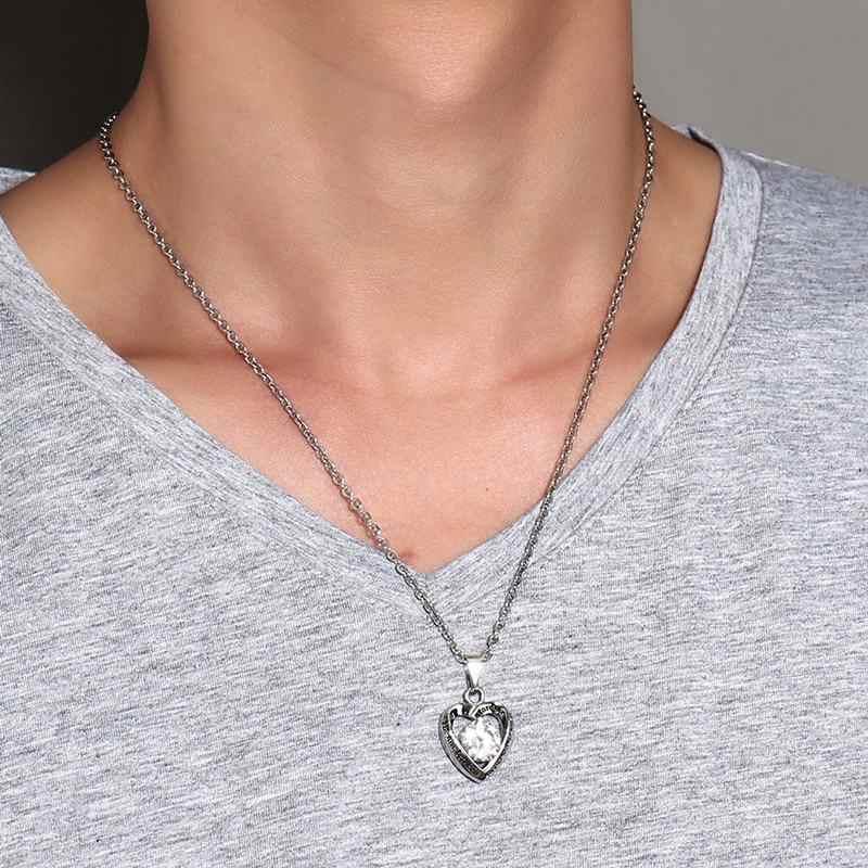 Meaeguet AAA + кулон с кубическим цирконием в форме сердца для ожерелья из нержавеющей стали любовь навсегда между мать и ее сын и дочь