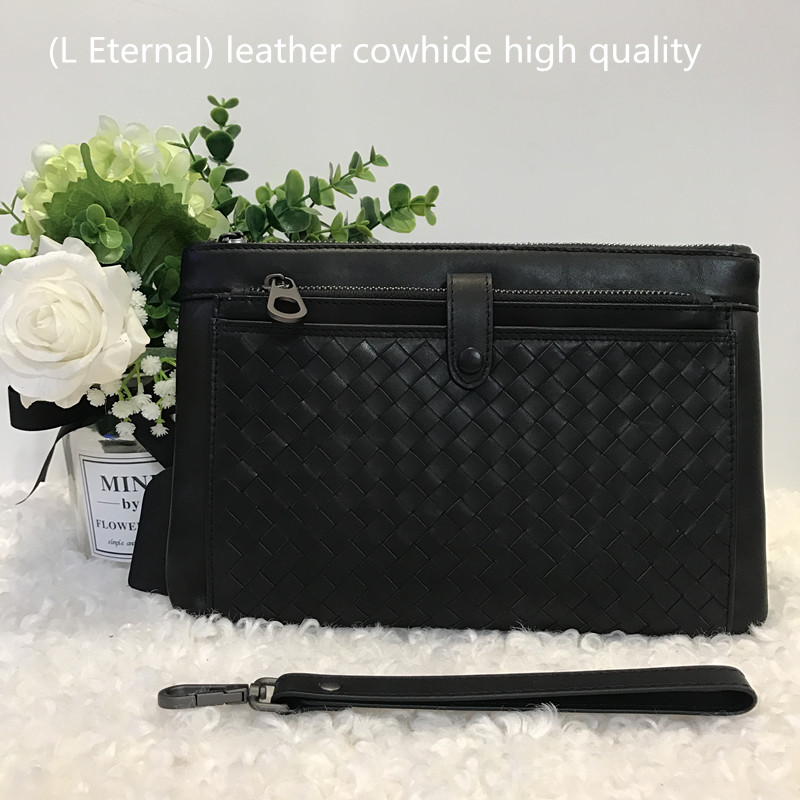 2019 Genuine leather Cowhide Man Clutch bag Hand knitted zipper bag Reticule Internal credit card Multi