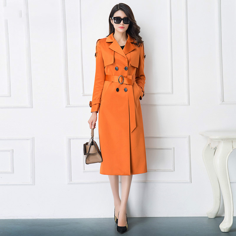 2018 New Fashion Spring Autumn Trenchcoat Slim Women Outwear Medium-long Solid Color Casual Windbreaker Female Trench Coat S-4XL