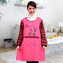 New Women Kitchen Apron Avental Long Sleeved Waterproof Apron Lattice Cartoon Embroidery Chef Cooking Funny Apron With Pocket