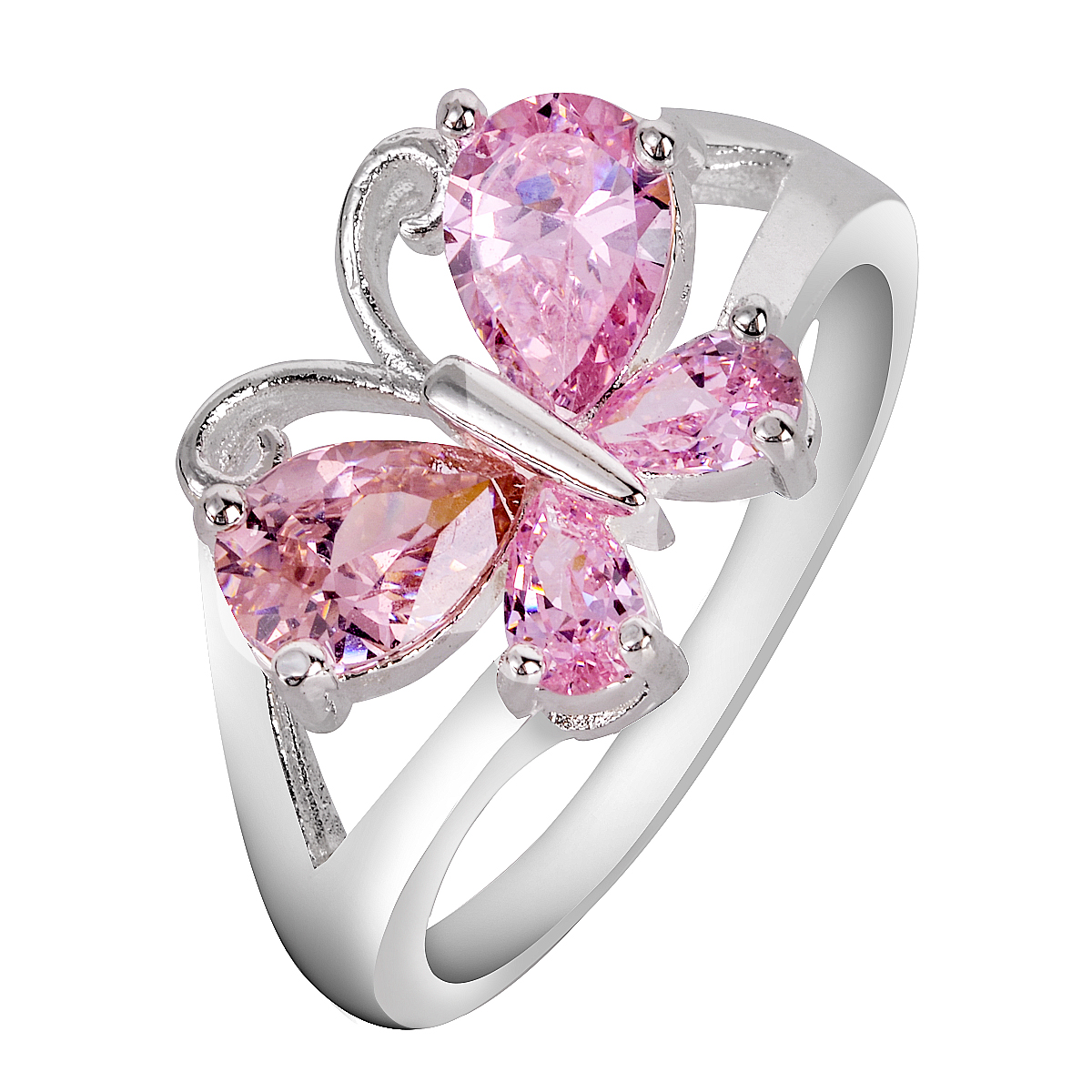 Fashion Female Jewelry Oval Stone Ring Vintage White & Pink Ring ...