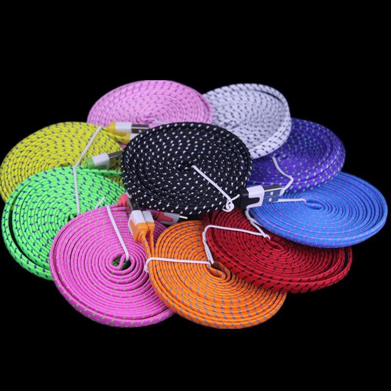 imágenes para 3 M el 10FT Colorido Tejido trenzado de Fideos Plana de 8 pines cable Para Accesorios paquetes para iPhone 6 plus 6 5 5S IOS 9 500 unids