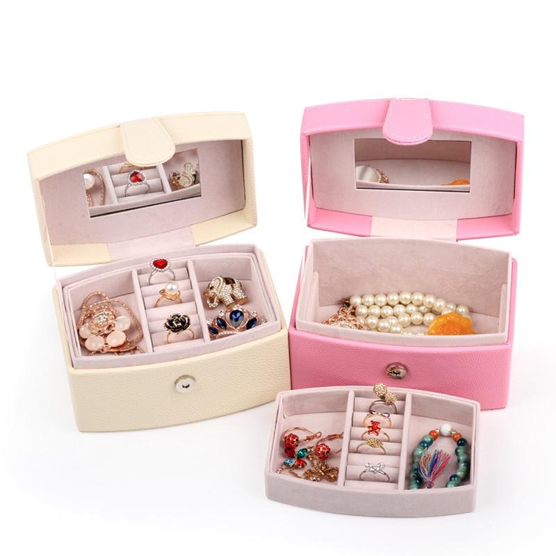 купить Double Layers Jewelry Box With Drawers Necklace PU Jewelry Case Women Makeup Mirror Faux Leather Jewel Storage Box Wedding Gift по цене 1497.98 рублей