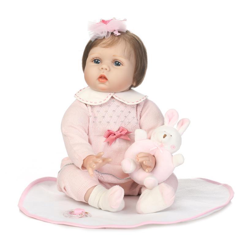 Baby Reborn Doll 22 Inch Princess Lifelike Soft Silicone Reborn Toys Fashion Gift For Girls Newborn Babies Fiber Hair Toys цена