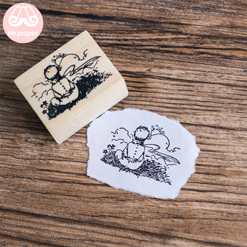 Mr Paper Dreamy Cartoon Little Prince Rose Fox Wooden Rubber Stamps for Scrapbooking Decoration DIY Craft Standard Wooden Stamps 6