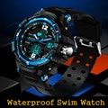 Марка Спортивные Часы Двойной Дисплей военные часы мужчины водонепроницаемый Diver Военная Часы наручные часы Кварцевые наручные часы