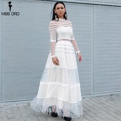 Missord 2020 женское сексуальное платье в горошек с высоким воротом и длинным рукавом женское кружевное платье повседневное элегантное платье ...