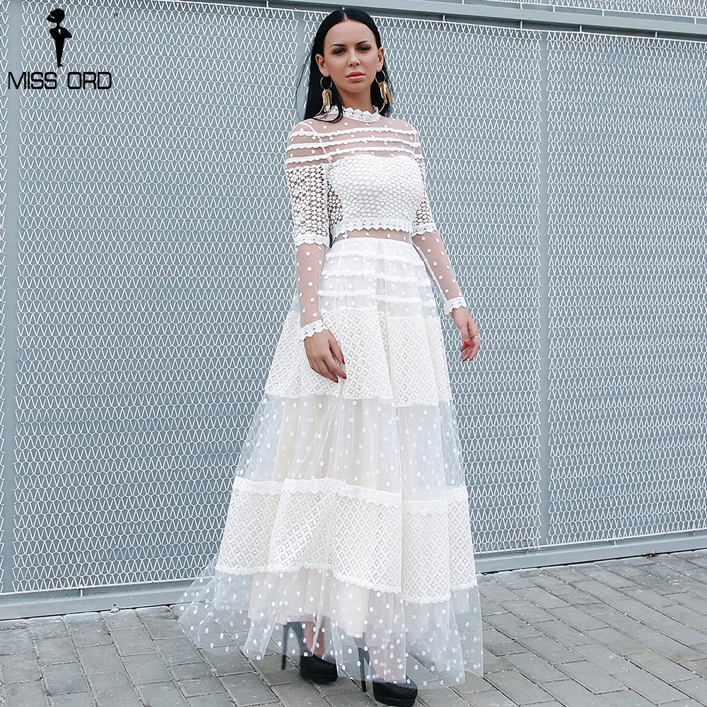 Missord 2020 Women Sexy High Neck Long Sleeve Dot Dresses Female Lace Dress Casual Elegant Dress  FT18309
