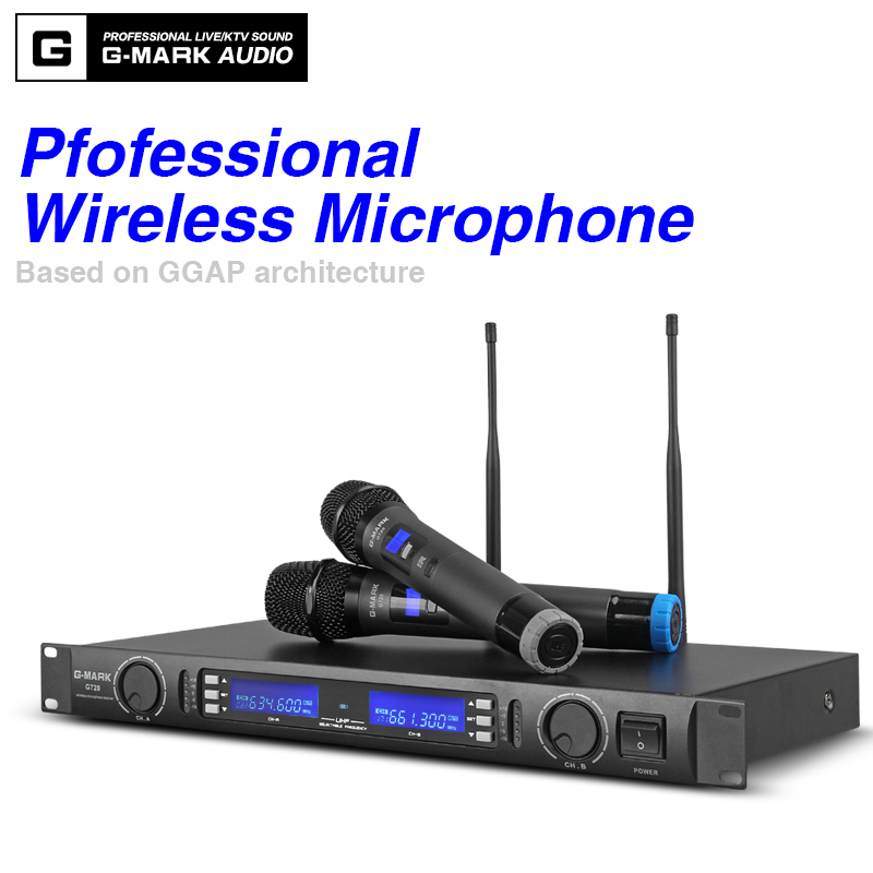 G-MARK Wireless Microphone System Dual Channel Receiver 150M Distance Two Handheld Mic Infrared Automatic Frequency Matching