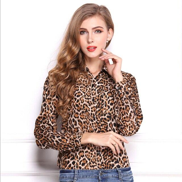 7cf7079d60b6 New fashion Women Wild Leopard print chiffon blouse lady sexy Long-sleeve  top shirt S M XL loose plus size V neck leopard blouse