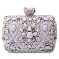 Silver Beaded Diamond Evening bag, Three-dimensional Party bag purse handbag clutches bags Bridal Pouch Hard Case