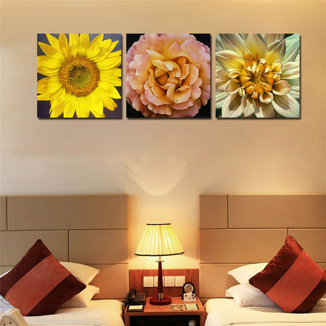 Sunflower Canvas Printing with Framed Ready to hang Wall Pictures ...