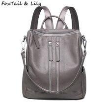 Лисохвост и Лили брендовая натуральная кожа рюкзак женщины практическая повседневная сумка модные для девочек-подростков школьные рюкзаки черный