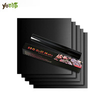 YOTOP 5Pcs Black Gold BBQ Grill Mat For Barbecue Grill Sheet Cooking And Baking Microwave Reusable