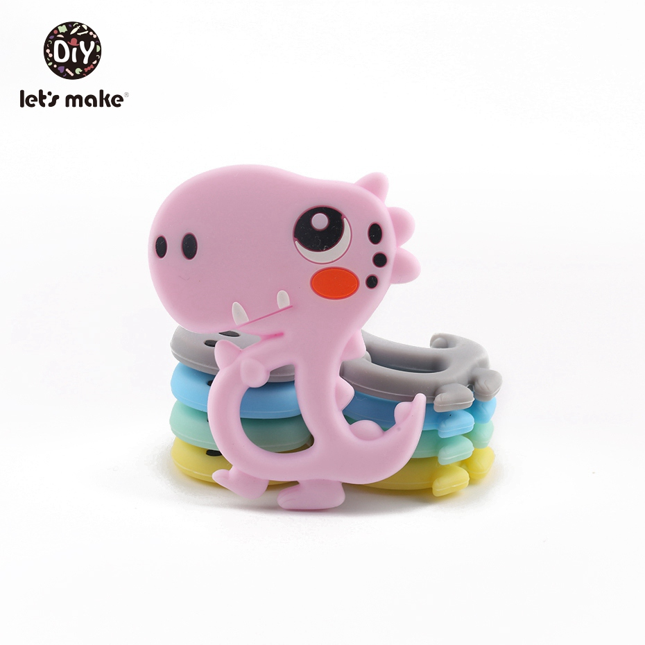 Let's Make Silicone Dinosaur Charms 1pc DIY Beads BPA Free Silicone Teething Cute Teething Toy Silicone Teether Nursing Pendant
