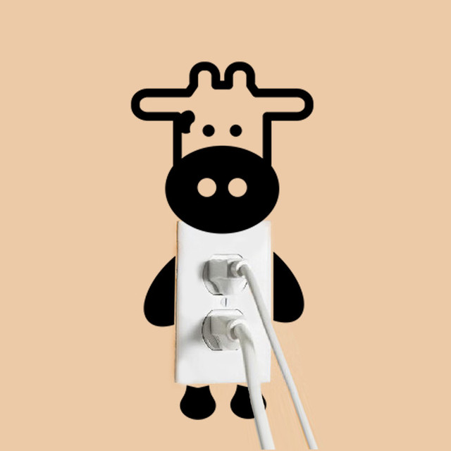 Lindo leche vaca ganado etiqueta engomada del interruptor decoración tatuajes de pared decoración para el hogar 8549 murales Kids regalo de los niños