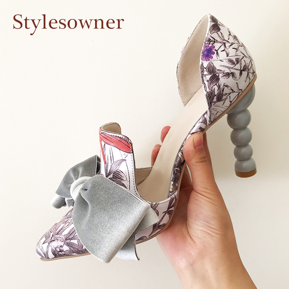 Stylesowner sweet bowtie decor high heel party wedding runway shoes women printed slip on strange heel pointed toe ladies pumps sequined high heel stilettos wedding bridal pumps shoes womens pointed toe 12cm high heel slip on sequins wedding shoes pumps