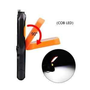 Image 2 - Dropshipping taşınabilir el USB el feneri LED şarj edilebilir çalışma lambası COB dönebilir meşale mıknatıs kanca 4 modu araba